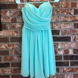 Flowy Strapless Turquoise Dress